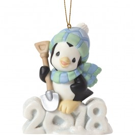 """Wishing You A Cool Yule"" Dated 2018, Bisque Porcelain Ornament, Penguin"