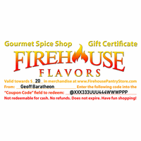 $20 Firehouse Flavors Gift Certificate