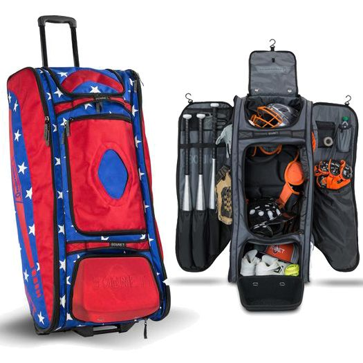 Usa Bownet Commander Bag Baseball Softball Wheeled Catchers Bag