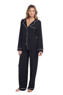 Barefoot Dreams Black Luxe Milk Jersey Piped Pajama Set