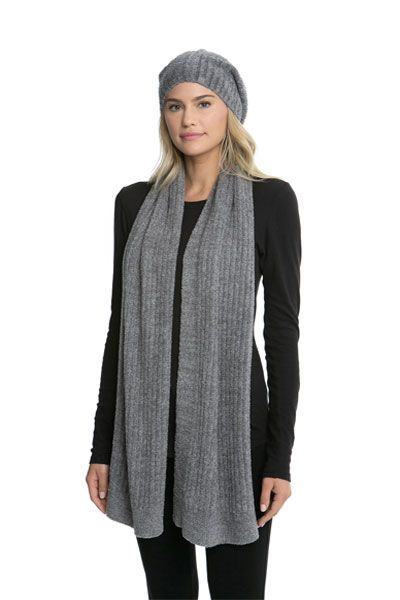 Barefoot Dreams CozyChic Ash-Pewter Lite Ribbed Beanie