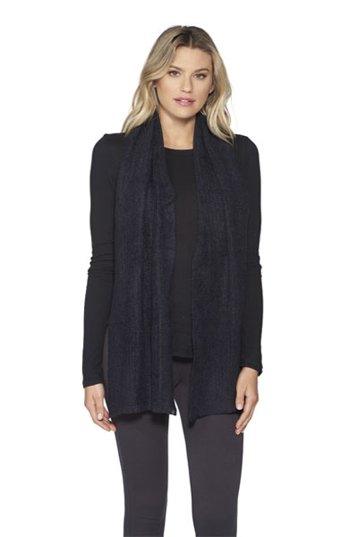 Barefoot Dreams CozyChic Black Lite Ribbed Scarf
