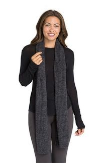 Barefoot Dreams CozyChic Carbon/Black Lite Ribbed Scarf