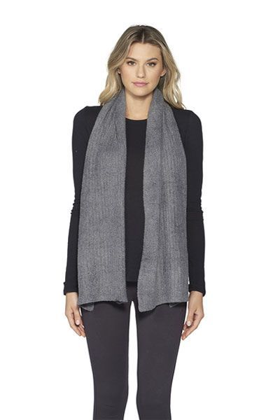 Barefoot Dreams CozyChic Graphite Lite Ribbed Scarf