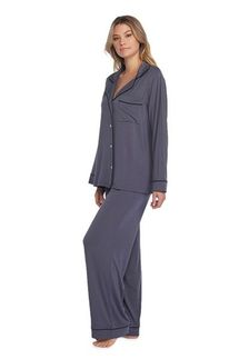 Barefoot Dreams Graphite Luxe Milk Jersey Piped Pajama Set