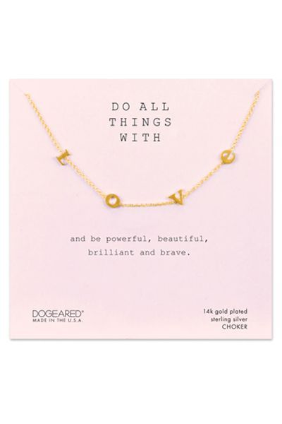 Dogeared Do All Things With Love Choker, Gold