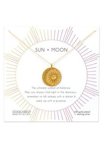 Dogeared Sun + Moon Medallion Necklace, Gold