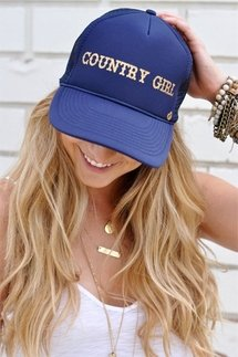 Mother Trucker Country Girl Blue Hat
