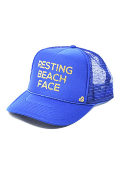 Mother Trucker Resting Beach Face Royal Blue Hat
