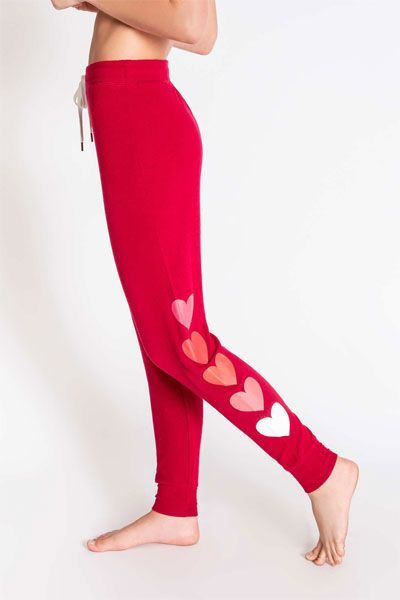 PJ Salvage All Things Love Raspberrt Heart Banded Pant