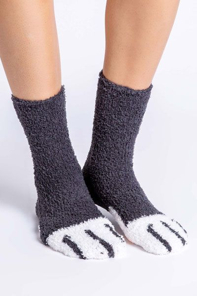 PJ Salvage Animal Paw Charcoal Socks