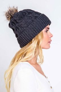 PJ Salvage Black Cable Knit Beanie