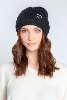 PJ Salvage Black Feather Knit Beanie