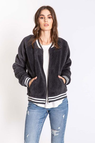 PJ Salvage Bomber Baby Charcoal Jacket