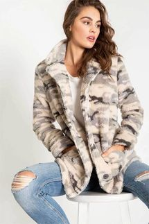 PJ Salvage Camo Plush Cozy Cardigan
