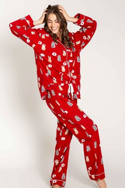 PJ Salvage Cat Flannel Pajama Set