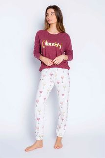PJ Salvage Cheers Long Sleeve and Pant Pajama Set