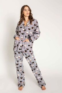 PJ Salvage Coffee Flannel Pajama Set