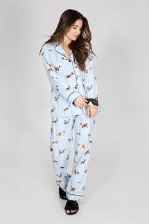PJ Salvage Doggone Tired Flannel Pajama Set