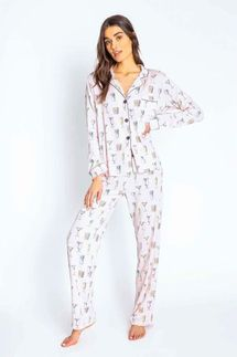 PJ Salvage Drink Happy Thoughts Pajama Set w/ Eye Mask