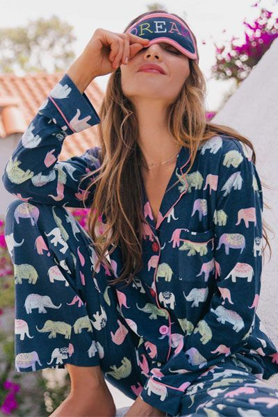 PJ Salvage Elephant Dream Pajama Set w/ Eye Mask