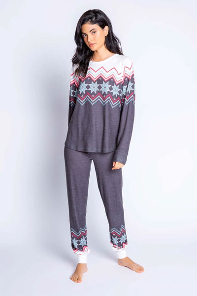 PJ Salvage Fair Isle Long Sleeve and Banded Pant Pajama Set