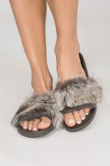 PJ Salvage Faux Fur Sliders