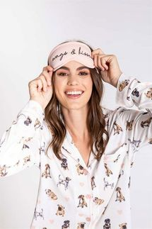 PJ Salvage Give Love Dog Pajama Set with Eye Mask