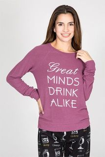 PJ Salvage Great Minds Drink Alike Long Sleeve Top