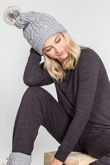 PJ Salvage Grey Cable Collection Beanie