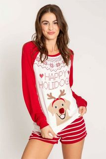 PJ Salvage Happy Holidogs Long Sleeve Top