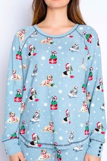 PJ Salvage Happy Howlidays Velour Long Sleeve and Banded Pant Pajama Set