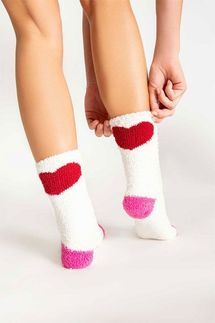 PJ Salvage Heart Ivory Socks