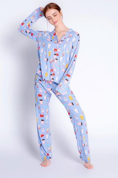 PJ Salvage I love You A Latte Pajama Set with Eye Mask