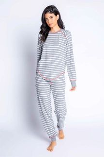 PJ Salvage Joyful Spirit Grey Striped Long Sleeve and Banded Pant Set