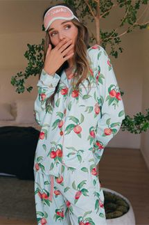 PJ Salvage Just Peachy Pajama Set w/ Eye Mask