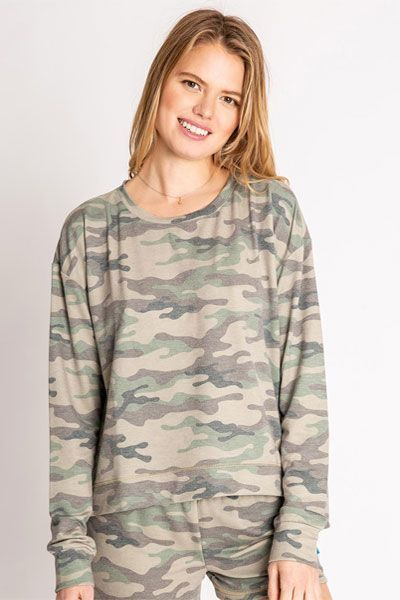 PJ Salvage Kind Is Cool Camo Long Sleeve Top