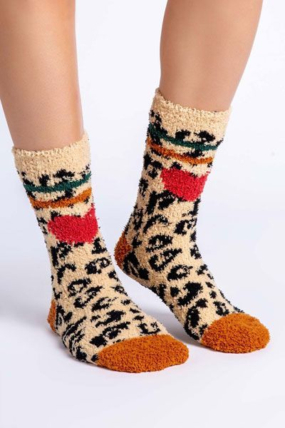 PJ Salvage Leopard Heart Socks