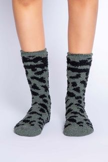 PJ Salvage Leopard Olive Socks
