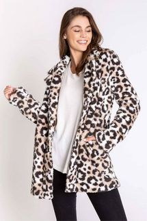 PJ Salvage Leopard Plush Cozy Cardigan