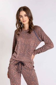 PJ Salvage Leopard Sport Long Sleeve and Banded Pant Set