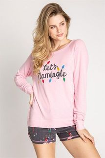 PJ Salvage Let's Flamingle Long Sleeve Top
