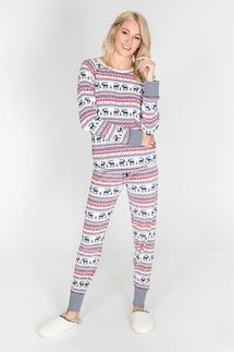 PJ Salvage Moose Fair Isle Pajama Set