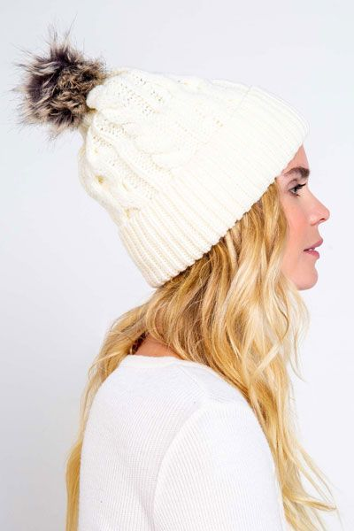 PJ Salvage Natural Cable Knit Beanie