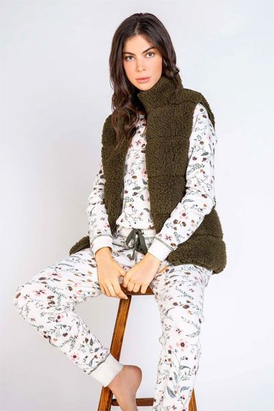 PJ Salvage Olive Cozy Cuddlers Vest