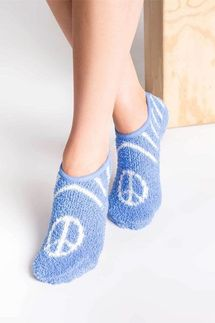 PJ Salvage Peace Sign Slipper Socks
