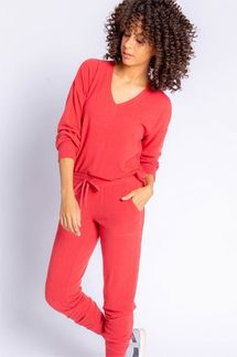 PJ Salvage Peachy In Color Burnt Red Long Sleeve and Pant Lounge Set