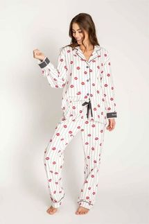 PJ Salvage Red Lip Flannel Pajama Set