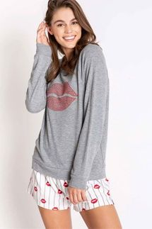 PJ Salvage Red Lips Long Sleeve Top