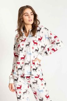 PJ Salvage Reindeer Pajama Set